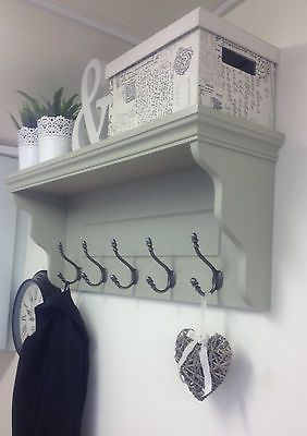 COAT RACK WITH SHELF IN FARROW & BALL FRENCH GREY WITH CAST IRON HOOKS in Home, Furniture & DIY,Storage Solutions,Wall Hooks & Door Hangers | eBay