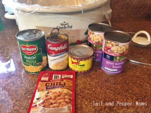 Crockpot White Chicken Chili--OK: HOLD that can of soup.  Use a pound of ground turkey and a packet of McCormick Mojito Lime seasoning.  Add an 8 oz pkg of cream cheese.  Remember to DRAIN & RINSE the white beans.
