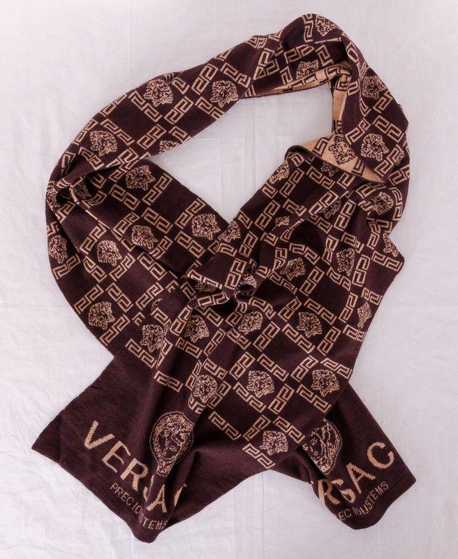 Шарф Versace длинный коричневый теплый шерстяной. Размер 190x30cm #19954