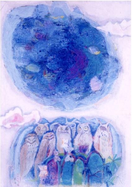 (Korea) White Night by Chun Kyung-ja (1924- 2015). Oil on canvas. Korea. 천경자