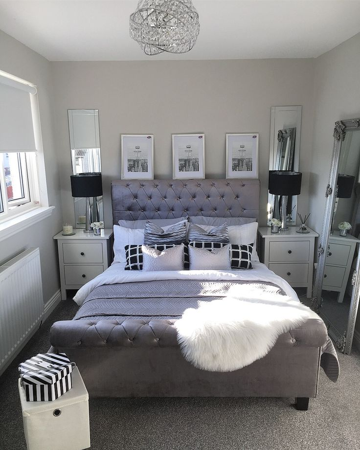 Master bedroom inspo goals pictures above bed mirrored bedside tables ikea tables black table lamps velvet bed stripes hat box sheepskin rug leaning mirror cushions