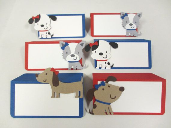 Dog Puppy Birthday Party Shower Food Buffet Tents / Place Cards Birthday Party Shower Set of 6 Royal Blue Red Decorations Decor