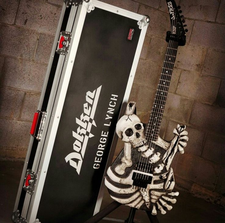 """George Lynch's """"Mr. Scary Mark II"""", With It's Case, On A Stand, An EXCLUSIVE Model, Made For Mr. Lynch, Played MOSTLY In Dokken, And A Couple Of Times In Lynch Mob, Then Given To A GOOD Musician Friend Of Mr. Lynch's!!... ;)"""