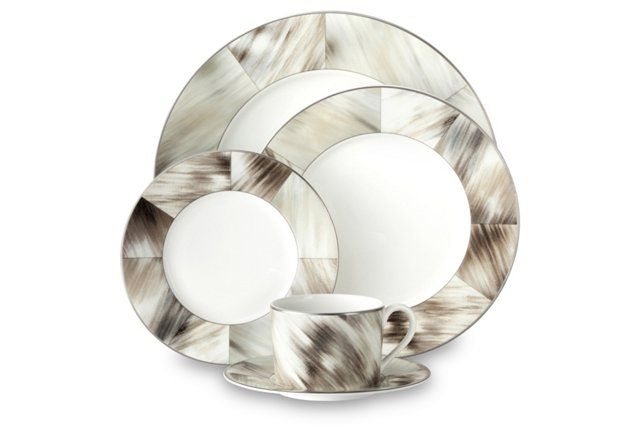 A sophisticated neutral dinnerware set, perfect for entertaining or everyday.