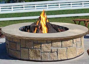 Large Round Fire Pit in Natural Stone