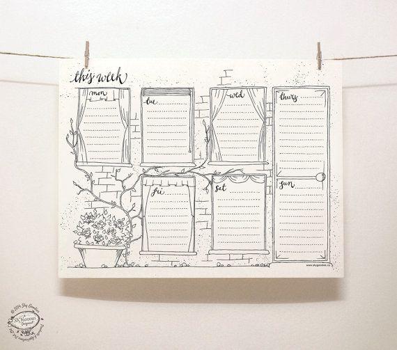 DOODLE perpétuel hebdomadaire: Fenêtre / organisateur | Modèle de pdf imprimable format lettre | Outil de gestion artistique créatif unique de rappel