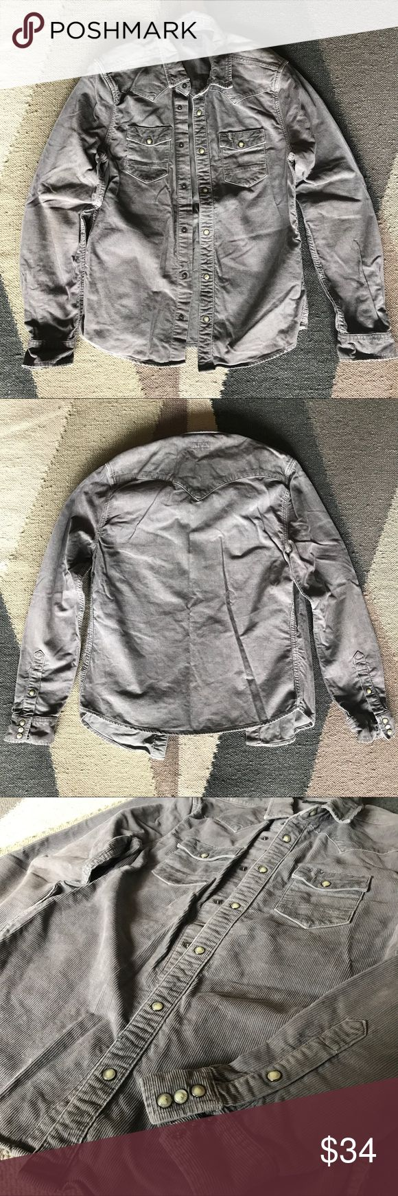 Men's All Saints Gray Corduroy Shirt Western style shirt with button snaps throughout front and cuff. Slim fit with minimal signs of wear (some discoloration in the inside elbow portion which will be hidden when worn), great used condition. All Saints Shirts Casual Button Down Shirts