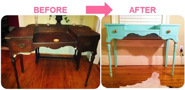 Lacquered like turquoise desk (high gloss oil-based paint) -- latest DIY project