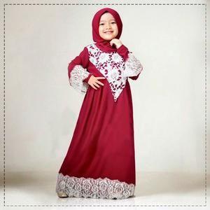 [Bfash-mus17] baju busana anak perempuan muslim spandek kombinasi lace maroon pesta terbaru