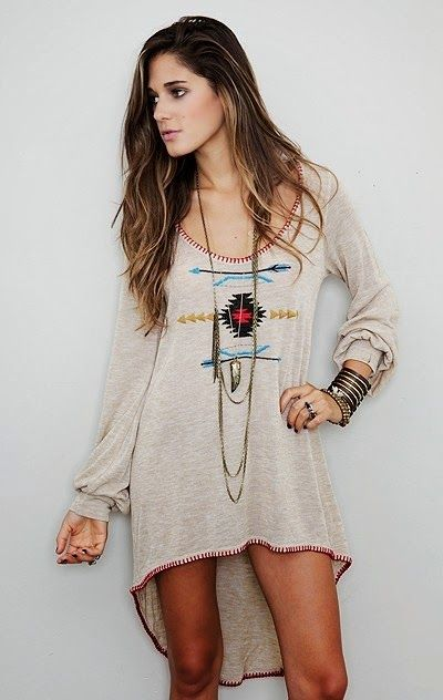 Gorgeous boho chic style tribal inspired tunic for an overall modern hippie flair. FOLLOW> https://www.pinterest.com/happygolicky/the-best-boho-chic-fashion-bohemian-jewelry-gypsy-/< for the BEST 2015 Bohemian fashion trends.