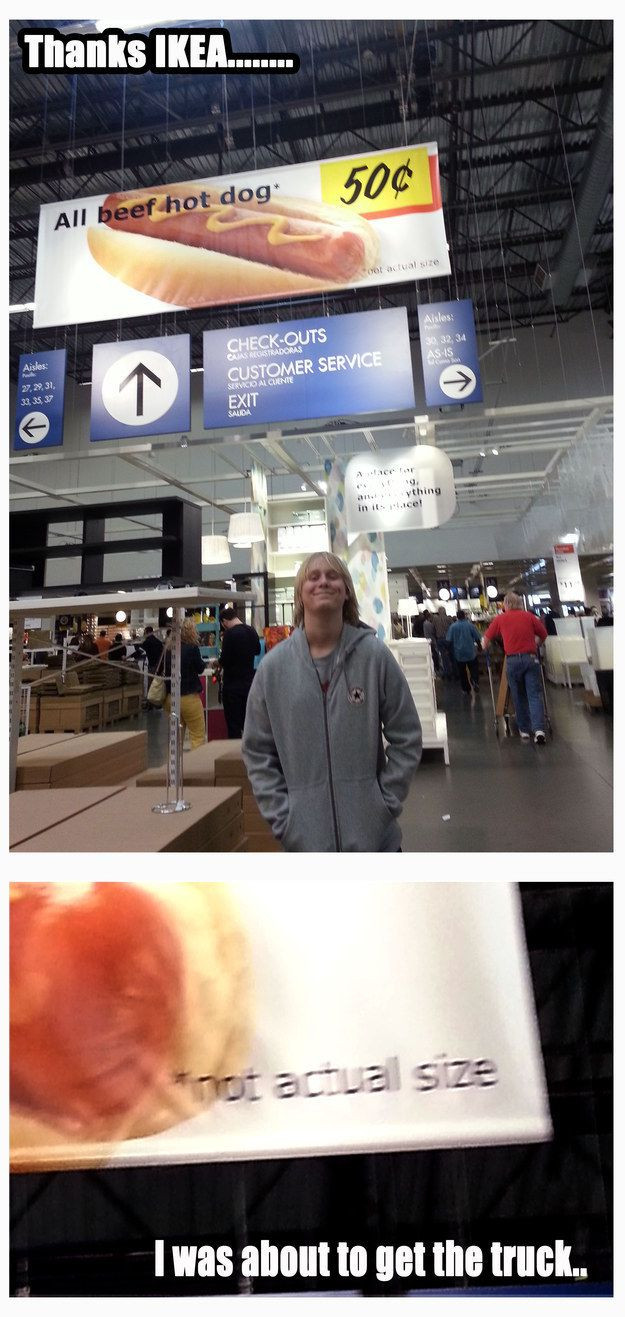 When your gargantuan hotdog dreams are crushed. | 21 Ikea Fails That Will Make You Want To Scream
