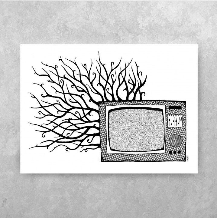 OVERGROWN TV ⁘ Handdrawn illustration by Vira Kiktso (Virki) #virki #virkiillustration #illustration #handdrawn #artprint #art #design #svartvitt #blackandwhite #tv #television #retro #oldschool #grenar #branches