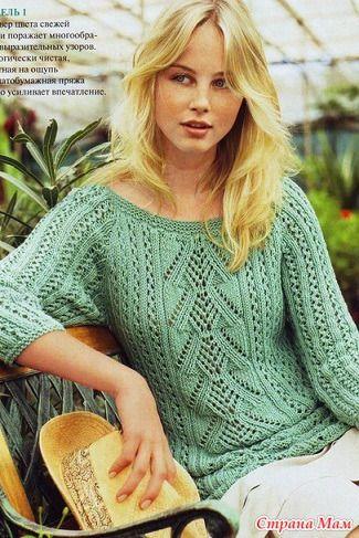 Ажурный пуловер с рукавами реглан связан спицами № 4 из 500/600/650 г зеленой пряжи (100% био-хлопка, 90 м/50 г). Размеры38-40/42-44/46-48. Пуловер для женщин спицами - схема и описание