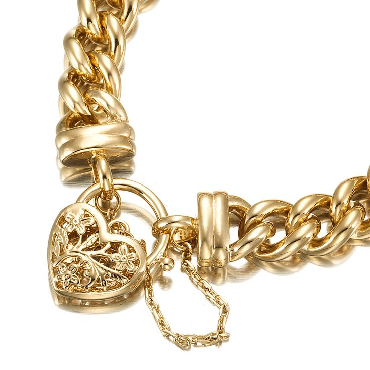 18ct Yellow Gold Layered Chunky Curb Bracelet with Filigree Locket   Allure Gold