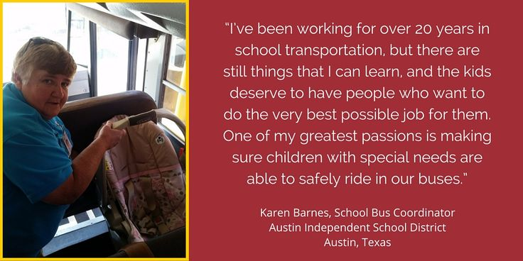 Texas school bus coordinator Karen Barnes fights for the resources she needs to keep all students safe on the district's buses. #SafeSchoolsWeek #SpEd #TSTA