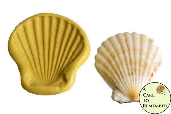 Clam Shell Seashell Mold For Cake Decorating Or Polymer Clay M33 Beach Cakes Gum Paste Polymer Clay