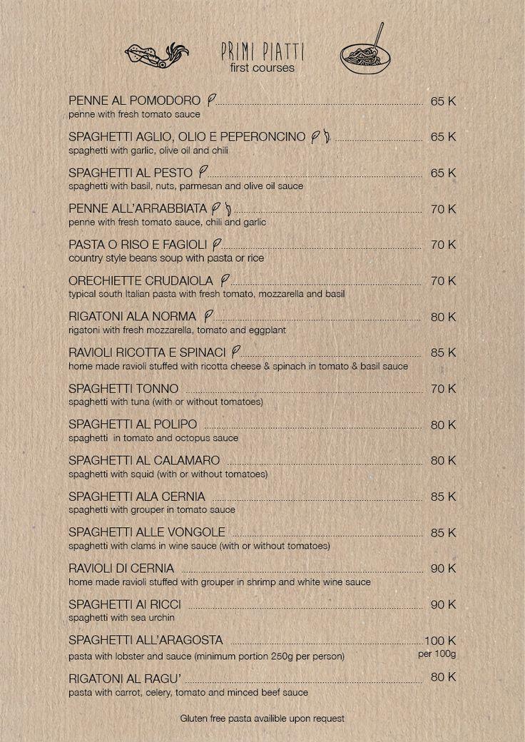 Gili Asahan Eco Lodge Nautilus Menu Italian Food