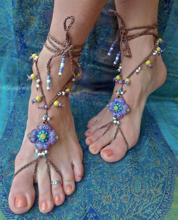 OMG I need these!!! gypsy PURPLE BAREFOOT SANDALS with crochet brown lace by GPyoga | See more about Barefoot, Sandals and Fairy Shoes.
