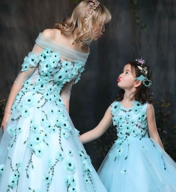 Mommy & Me Dress---Made To Order - High Quality Sleeveless Floor Length Floral Applique Mother Daughter Matching Gown These matching mother daughter dresses are perfect for photo shoot, wedding, birthday or any occasion Material: Organza, cotton, tulle mesh, soft polyester fiber Color: Light Blue Please do compare your  little girl measurements with our size chart below before deciding her size.