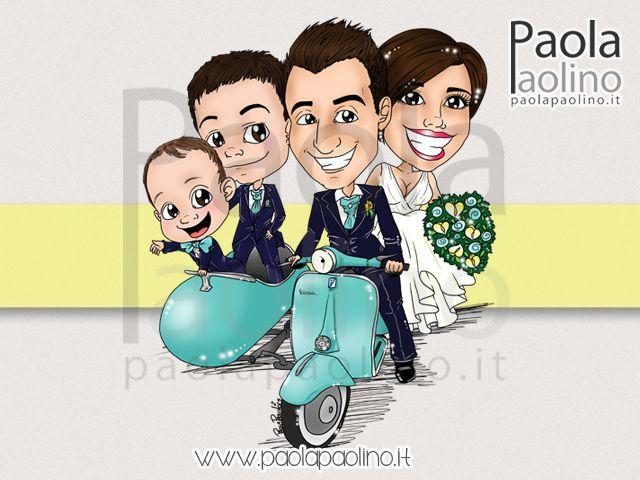 Una simpatica caricatura di #sposi su #vespa! Una vespa con sidecar, con figli a seguito.  #caricatura #caricaturista #vespa #sposi #matrimonio #nozze #ideanozze #ideamatrimonio