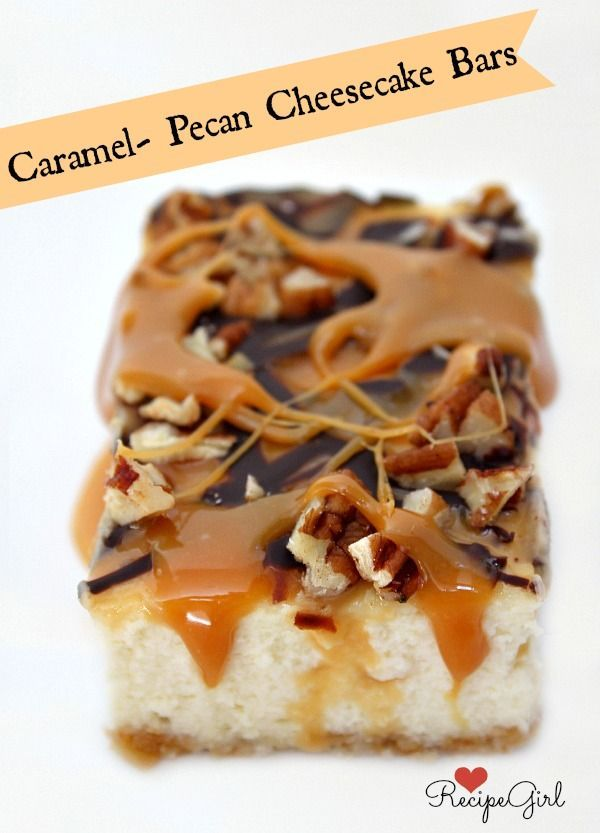 Caramel Pecan Cheesecake Bars Recipe ~ These delicious cheesecake bars are topped with a layer of gooey caramel, a drizzle of melted chocolate and chopped pecans.