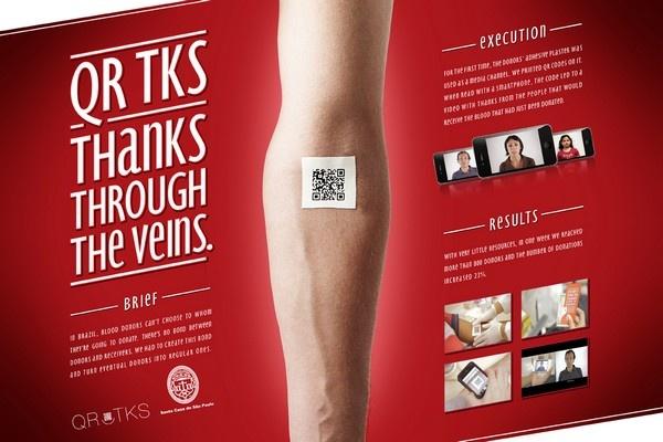 pansement qrcode sang veines donneur marketing communication pub mdelmas
