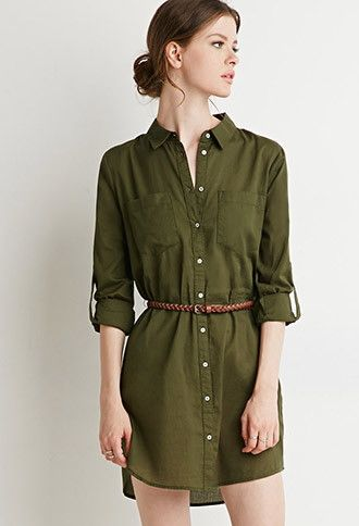Belted Shirt Dress | Forever 21 Contemporary - 2000142957