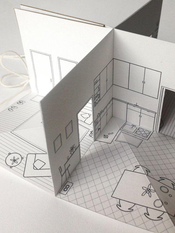 2 x 2 La mas bella casita de papel hecho a mano. Las partes delanteras y traseros de la casa se ilustran en las cubiertas. Abra el libro para descubrir