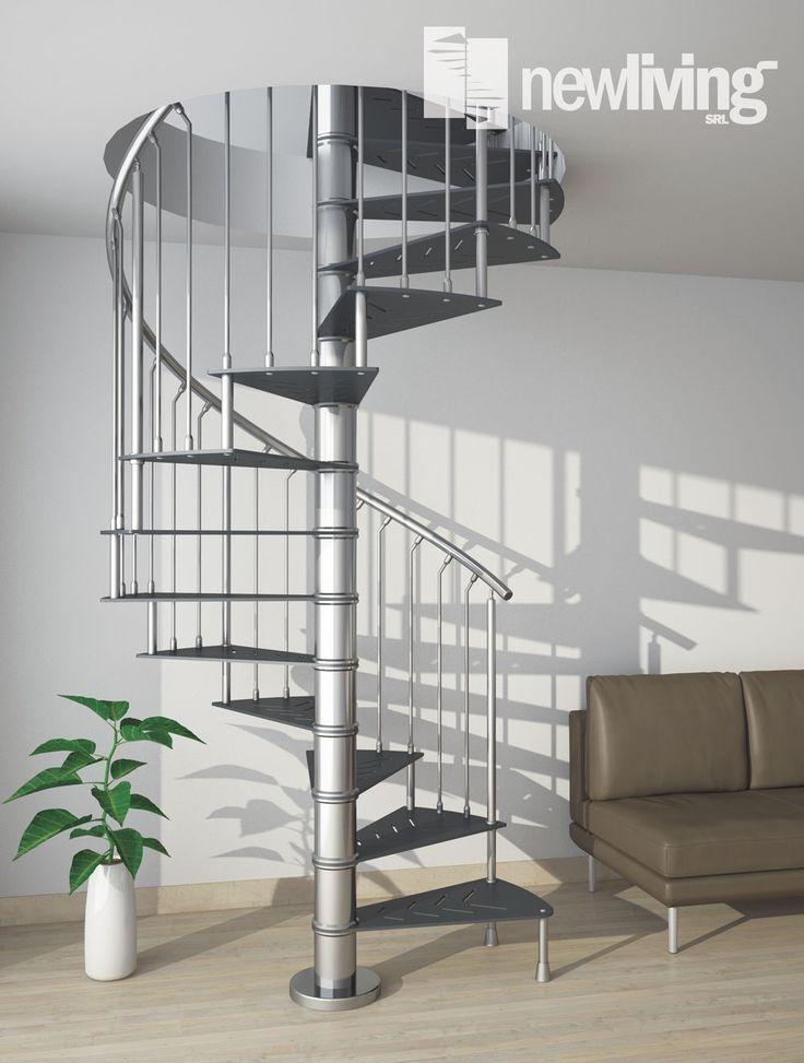 Scala a chiocciola con gradini in ferro e struttura in acciaio inox
