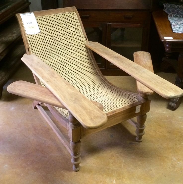 British Colonial Caned Lounge Chair With Swivel Arms. Made Of Solid Teak.  Plantation ...