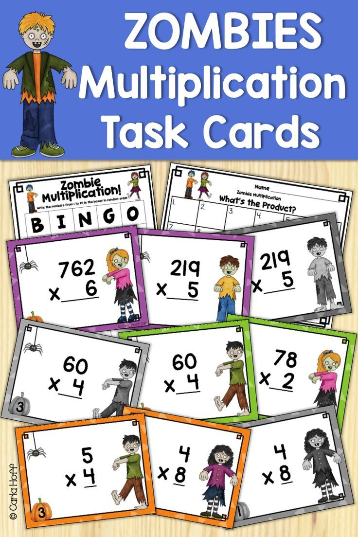 Halloween Multiplication Task Cards Single And Multiple Digit Numbers Task Cards Multiplication Task Cards Halloween Multiplication [ 1104 x 736 Pixel ]