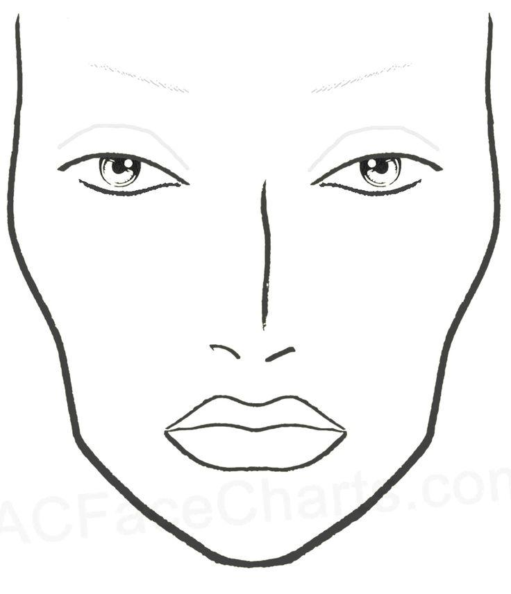 Young Woman Face Chart Makeup Artist Blank Template Stock ...