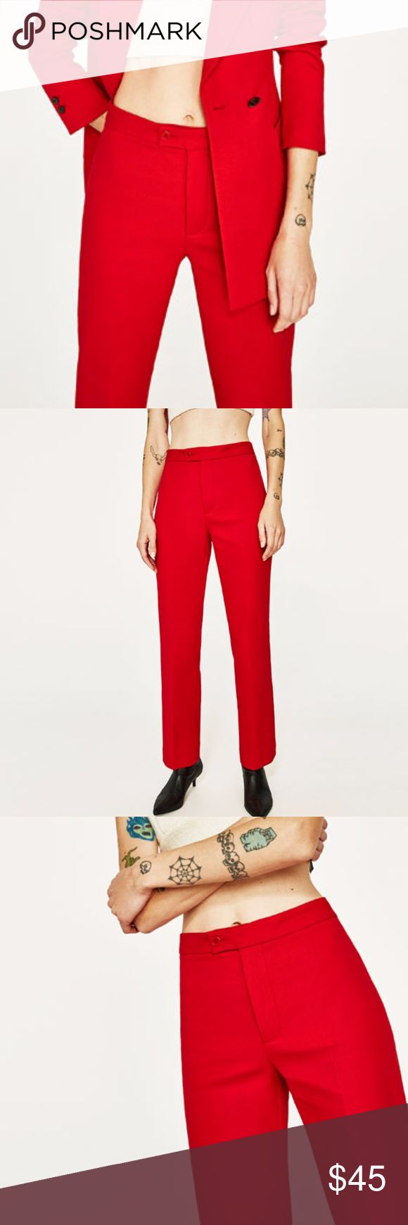 Zara Straight Cut Red Trousers Sz M ZARA WOMEN NEW COLLECTION!!  SS17 CROPPED STRAIGHT-CUT TROUSERS (2445/675) COLOR: RED  Straight, ankle-grazing trousers with front zip and hook and eye clasp fastening.  81% cotton, 17% polyamide, 2% elastane.  Brand new with tags// Size Medium Zara Pants Trousers