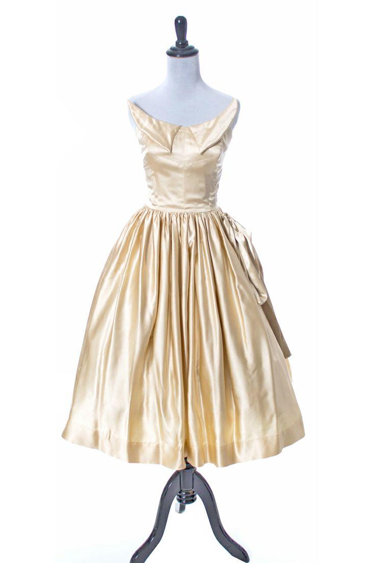 50s vintage wedding dress in champagne slipper satin for Slipper satin wedding dress
