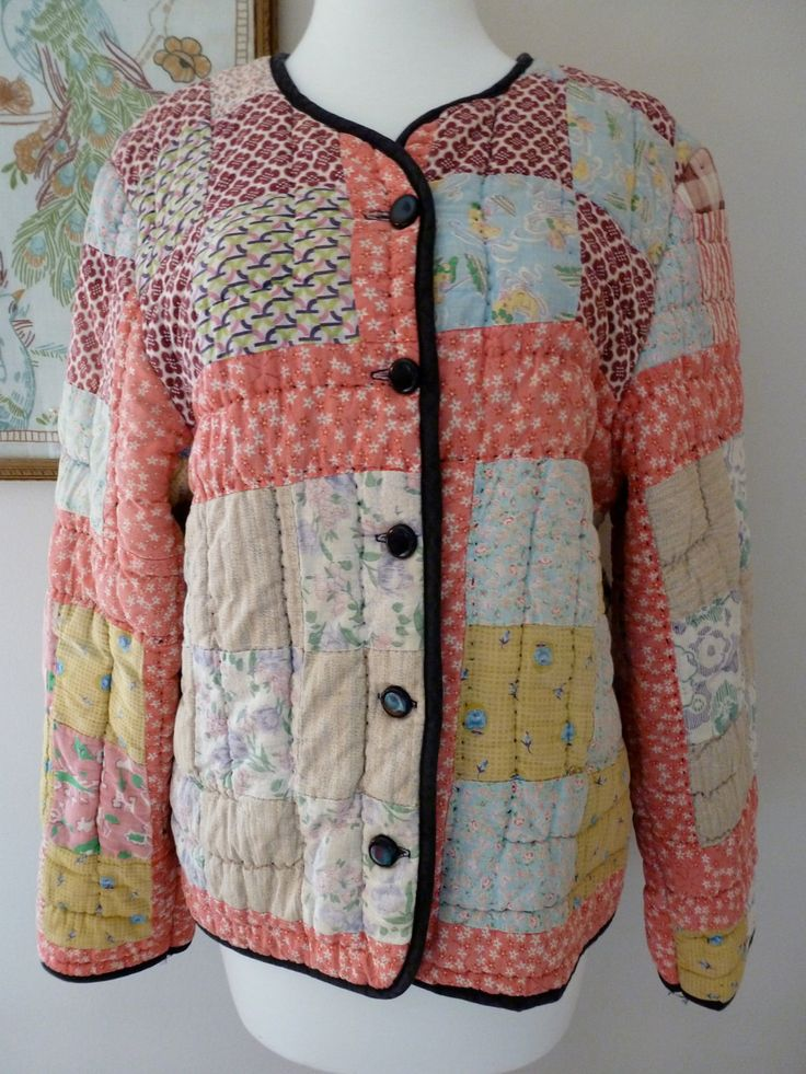 30's quilt coat cotton feedsack patchwork quilted jacket l