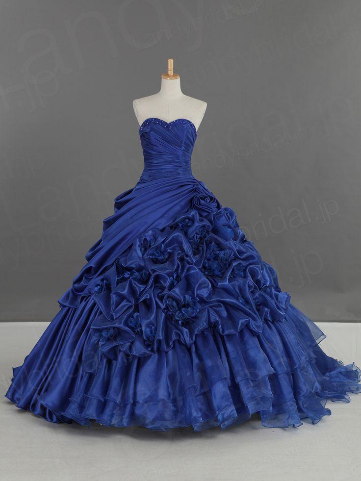 カラードレス ハートネック プリンセス ロイヤルブルー タッキング JWLT14001