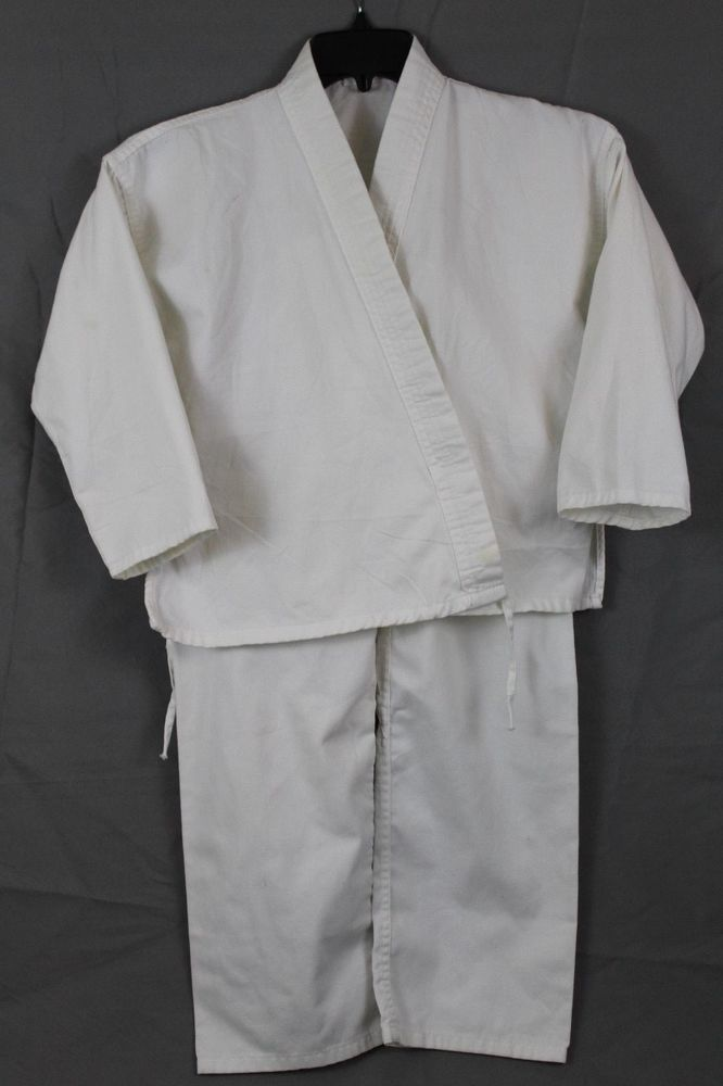 Kids Boys Girls Martial Arts Karate Taekwondo Uniform White Size 2 #Unbranded