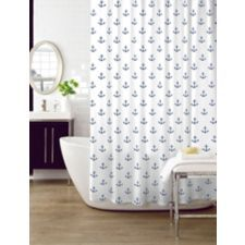anchor shower curtain features a nautical themed design that brings the ocean to your bathroom
