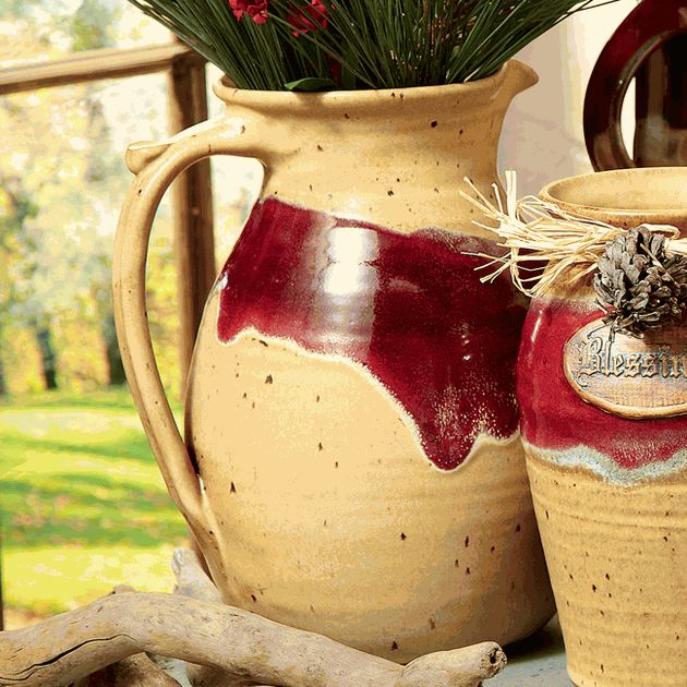 Mocha Red River Pottery Mediterranean Pitcher