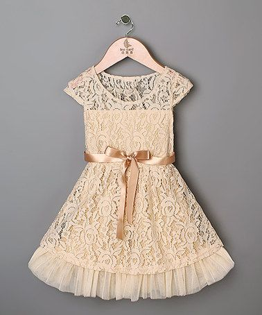 Peach Lace Dress - Toddler & Girls #zulily #zulilyfinds