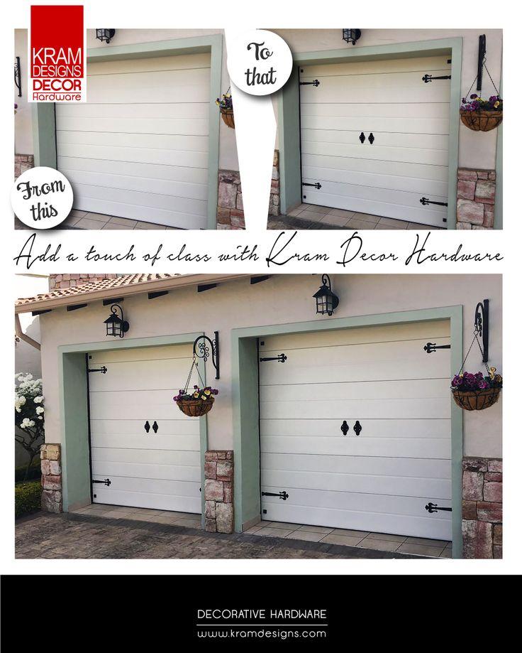 Transform your garage door with Kram Designs Decorative Hardware.