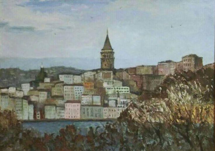 Boğaz'dan Beyoğlu (Beyoglu from Bosphorus) by Dilara Nizametdinova Tuval üzerine #Yağlıboya / #Oiloncanvas 80cm x 60cm  #gallerymak #sanat #resim #tablo #yagliboya #ig_sanat #ressam #istanbul #istanbulbogazi #beyoglu #galatakulesi #manzara #landscape #turkey #bosphorus #taksim #contemporaryart #modernpainting #artgallery #sanatgalerisi