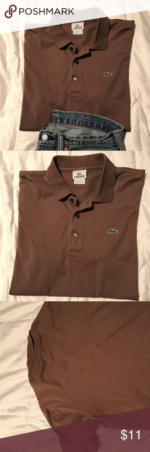 Lacoste Polo Shirt Very gently used (worn once or twice). This is a size medium Lacoste polo shirt that looks great casually or dressed up. Slight discoloration on back of left shoulder. Lacoste Shirts Polos