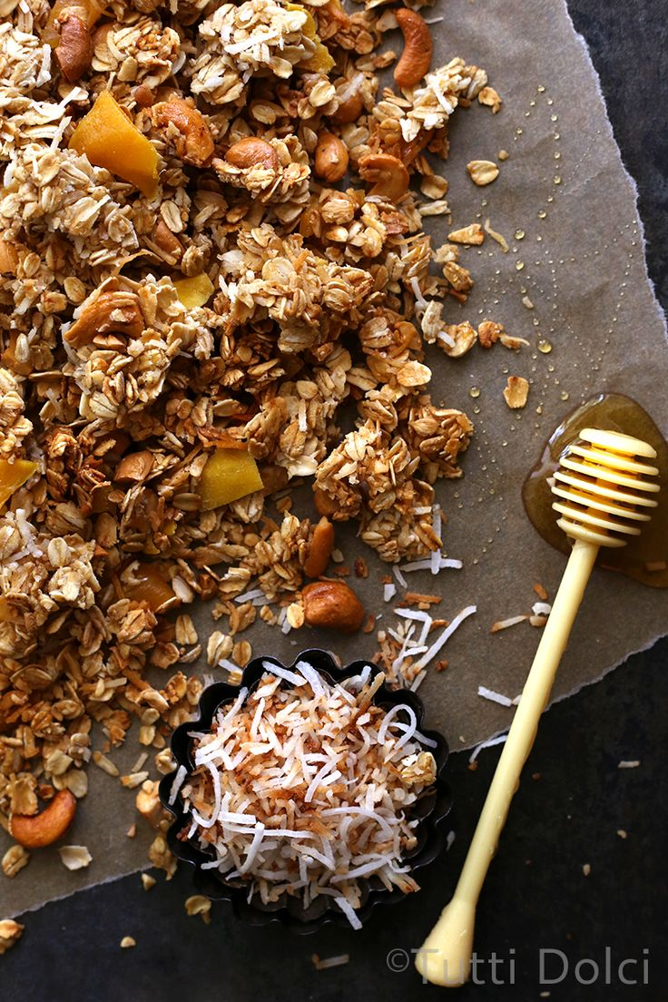 Toasted Coconut, Cashew and Mango Granola - tropical inspired granola filled with crunchy clusters!