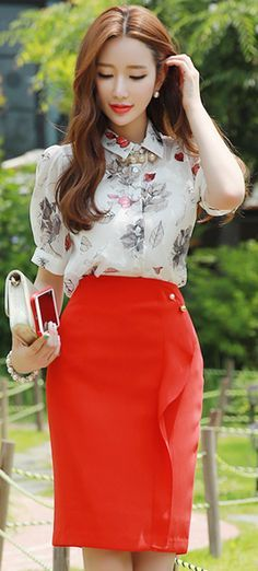 StyleOnme_Pearl Brooch Set Ruffle Pencil Skirt #red #ruffle #pencil #skirt #koreanfashion #kstyle #kfashion #seoul #dailylook #elegant #feminine