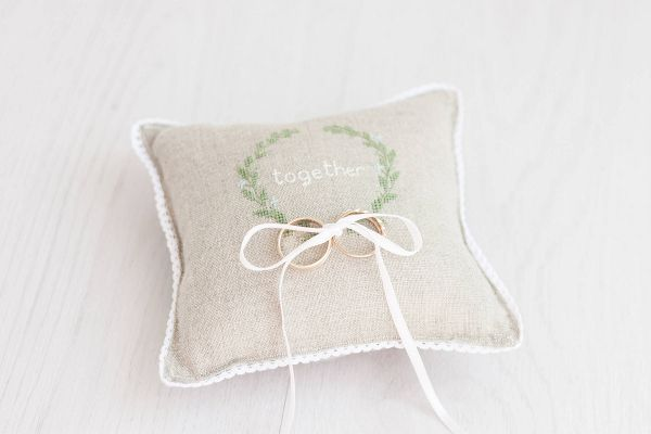 """This beautiful Ring Bearer Pillow is 5.5"""" x 5.5"""" and is made of natural linen and embroidered wreath. It's perfect for a rustic romantic wedding!"""