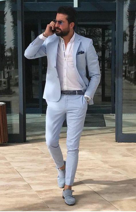 55325cbc37368 costume bleu pastel, chemise blanche, mocassins en velours bleu pastel,  veste avec mouchoir