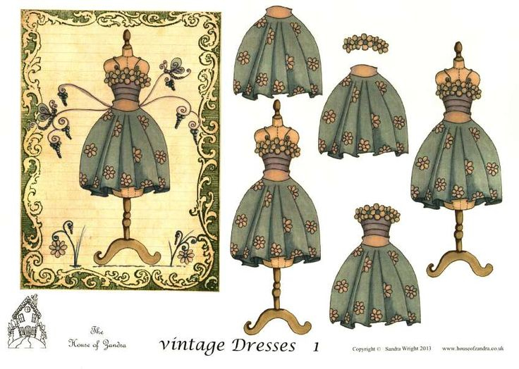The House of Zandra decoupage - Vintage Dresses 1