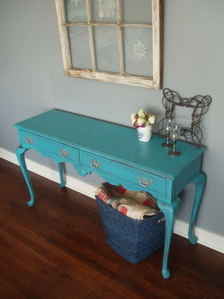 Queen Anne Hall Table in Turquoise (Apr5/15)