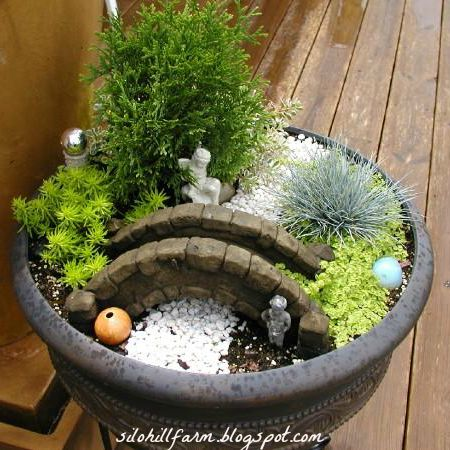 While a large container is just a big pot to us, it's a continent in fairy gardening. Wide and deep pots provide ample space for the plants and herbs to stretch their roots down into the soil. In this design, it's important to remember that plants will grow and fill in, so place your pieces wisely.